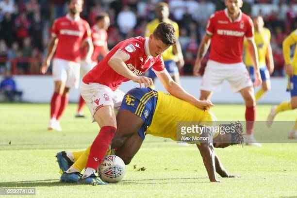 Sam Byram of Nottingham Forest and Jacques Maghoma of Birmingham during the Sky Bet Championship match between Nottingham Forest and Birmingham City...
