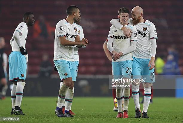 Sam Byram of West Ham United and James Collins of West Ham United celebrate after the Premier League match between Middlesbrough and West Ham United...