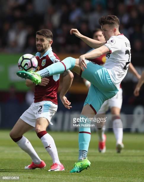 Sam Byram of West Ham United and Robbie Brady of Burnley clash during the Premier League match between Burnley and West Ham United at Turf Moor on...