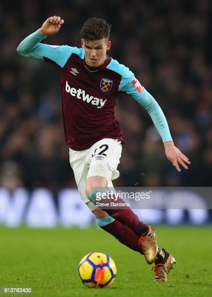 Sam Byram of West Ham United in action during the Premier League match between Brighton and Hove Albion and West Ham United at Amex Stadium on...