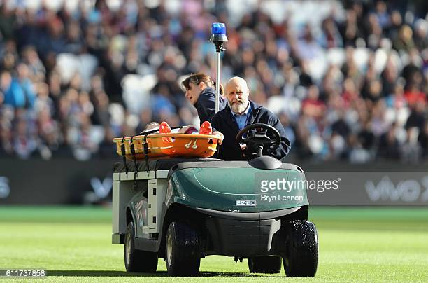 Sam Byram of West Ham United is stretched off the pitch during the Premier League match between West Ham United and Middlesbrough at London Stadium...