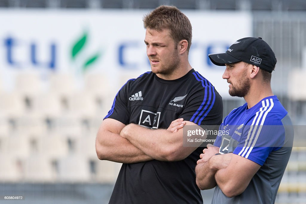 Sam Cane and Aaron Cruden of the All Blacks (L-R) look on during a New Zealand All Blacks training session on September 15, 2016 in Christchurch, New Zealand.