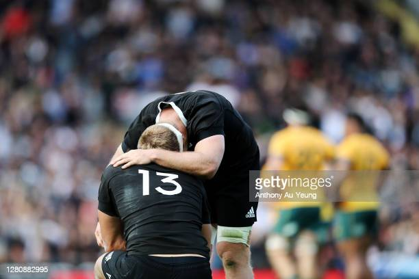 Sam Cane and Anton LienertBrown of the All Blacks show signs of relief after winning the Bledisloe Cup match between the New Zealand All Blacks and...