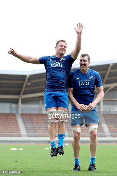 Sam Cane and Brodie Retallick of the All Blacks run through drills during a New Zealand training session at Kashiwa no Ha Park Stadium on September...