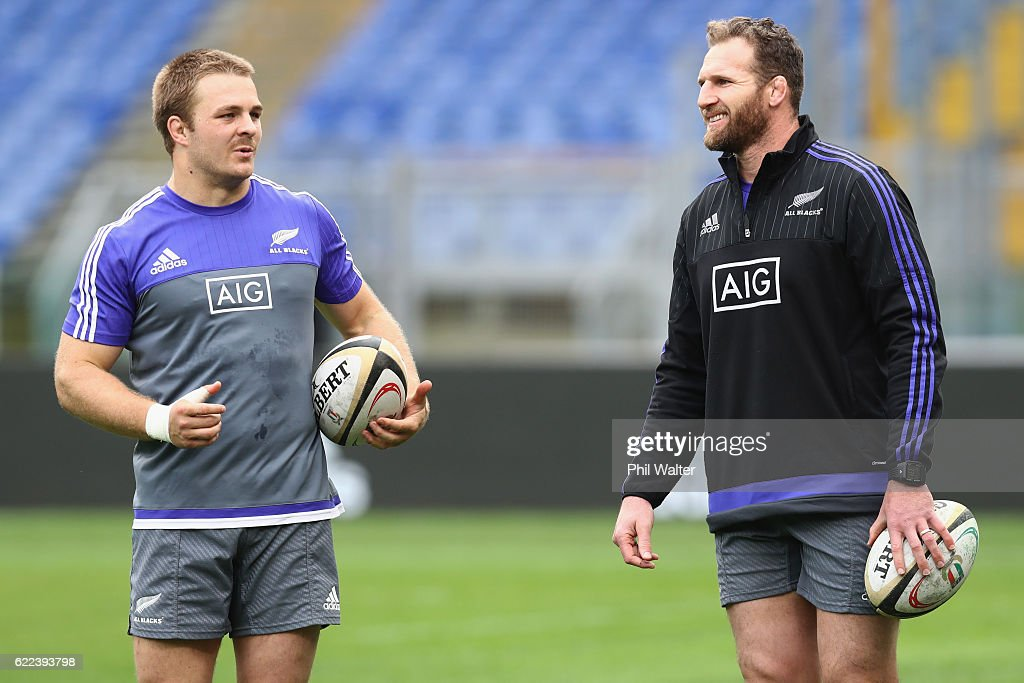 Sam Cane (L) and Kieran Read (R) of the New Zealand All Blacks chat during their captains run at Stadio Olimpico on November 11, 2016 in Rome, Italy.