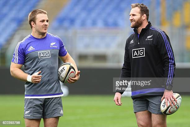 Sam Cane and Kieran Read of the New Zealand All Blacks chat during their captains run at Stadio Olimpico on November 11 2016 in Rome Italy
