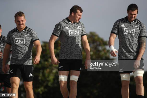 Sam Cane Brodie Retallick and Liam Squire of the All Blacks during a New Zealand All Blacks training session at Auckland Blues HQ on May 22 2018 in...