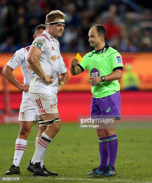 Sam Cane of Chiefs getting a yellow card during the Super Rugby Quarter final between DHL Stormers and Chiefs at DHL Newlands on July 22 2017 in Cape...
