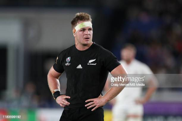 Sam Cane of New Zealand looks on during the Rugby World Cup 2019 Semi-Final match between England and New Zealand at International Stadium Yokohama...