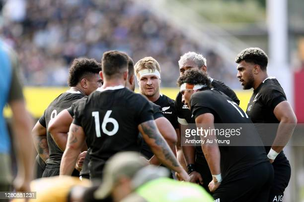 Sam Cane of the All Blacks gathers the forwards in a huddle during the Bledisloe Cup match between the New Zealand All Blacks and the Australian...