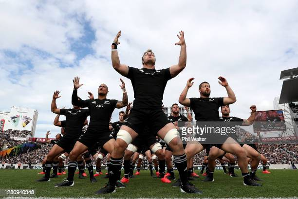 Sam Cane of the All Blacks leads the haka during the Bledisloe Cup match between the New Zealand All Blacks and the Australian Wallabies at Eden Park...