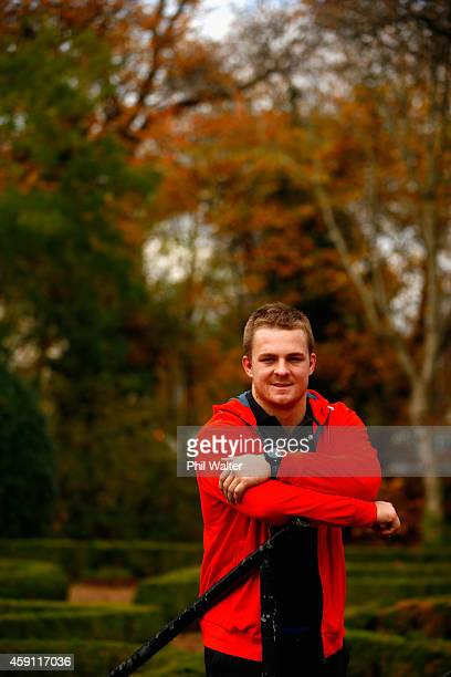 Sam Cane of the All Blacks poses for a portrait following a New Zealand All Blacks media session at the Hilton Hotel on November 17 2014 in Cardiff...