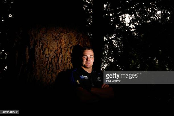 Sam Cane of the All Blacks poses for a portrait following a New Zealand All Blacks media session at the Lensbury on September 22 2015 in London...