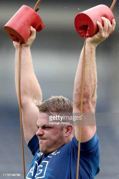 Sam Cane of the All Blacks runs through drills during a New Zealand training session at Kashiwa no Ha Park Stadium on September 11, 2019 in Kashiwa,...