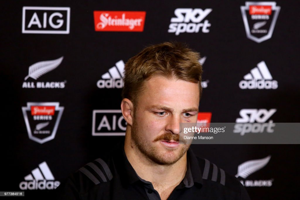 Sam Cane of the All Blacks speaks to the media during a New Zealand All Blacks press conference on June 18, 2018 in Dunedin, New Zealand.