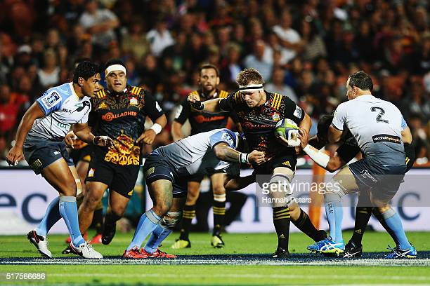 Sam Cane of the Chiefs charges forward during the round five Super Rugby match between the Chiefs and the Western Force at FMG Stadium on March 26...