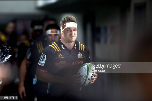 Sam Cane of the Chiefs leads the team onto the field during the round 16 Super Rugby match between the Chiefs and the Crusaders at the ANZ National...
