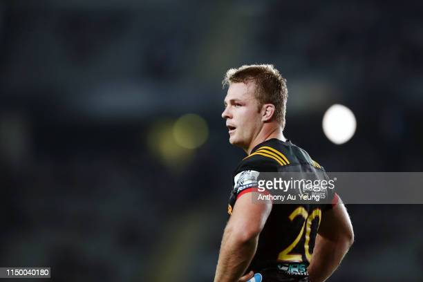 Sam Cane of the Chiefs looks on during the round 14 Super Rugby match between the Blues and the Chiefs at Eden Park on May 18 2019 in Auckland New...
