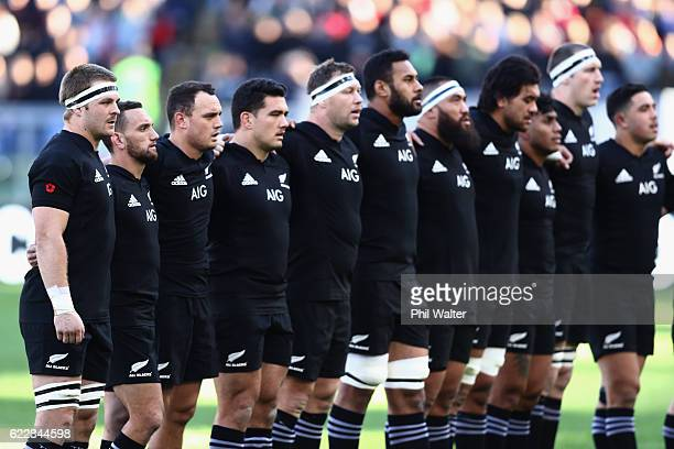 Sam Cane of the New Zealand All Blacks sings the anthem during the international rugby match between New Zealand and Italy at Stadio Olimpico on...