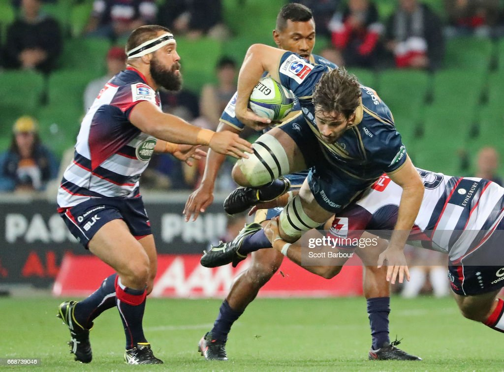 Sam Carter of the Brumbies is tackled during the round eight Super Rugby match between the Rebels and the Brumbies at AAMI Park on April 15, 2017 in Melbourne, Australia.