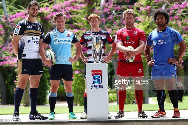 Sam Carter of the Brumbies Michael Hooper of the WaratahsNic Stirzaker of the Rebels James Slipper of the Reds Tatafu PolotaNau of the Force pose...