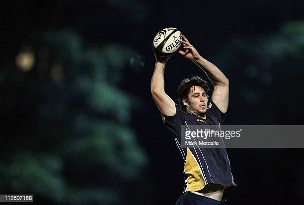 Sam Carter takes part in a Sydney University training session at Sydney University on April 19 2011 in Sydney Australia Super Rugby club ACT Brumbies...