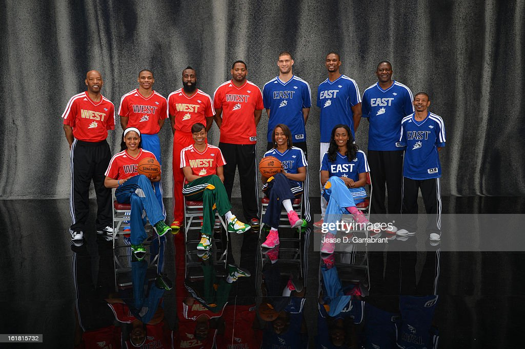 Sam Cassell, Maya Moore, Russell Westbrook, James Harden, Tina Thompson, Robert Horry, Brook Lopez, Tamika Catchings, Chris Bosh, Swin Cash, Dominique Wilkins, and Muggsy Bogues of the 2013 Sears Shooting Stars Competition poses for portraits during State Farm All-Star Saturday Night as part of 2013 NBA All-Star Weekends at Toyota Center on February 16, 2013 in Houston, Texas.