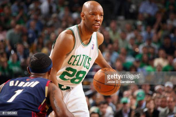Sam Cassell of the Boston Celtics moves the ball against Daniel Gibson of the Cleveland Cavaliers in Game Two of the Eastern Conference Semifinals...