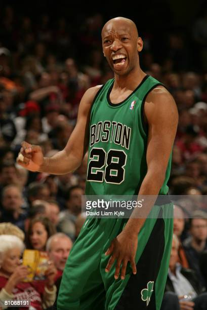 Sam Cassell of the Boston Celtics shouts to a teammate during a break in the action against the Cleveland Cavaliers in Game Four of the Eastern...