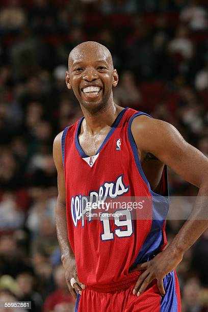Sam Cassell of the LA Clippers smiles during a game against the Portland Trail Blazers on October 18 2005 at the Rose Garden Arena in Portland Oregon...