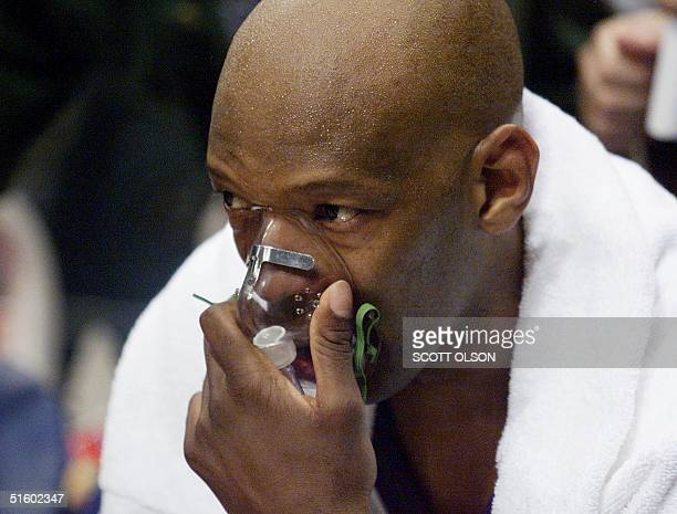 Sam Cassell of the Milwaukee Bucks takes some oxygen during the Buck's game against the Philadelphia 76ers in Game 3 of the NBA Eastern Conference...