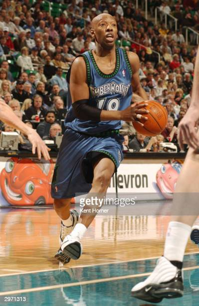 Sam Cassell of the Minnesota Timberwolves drives to the basket against the Utah Jazz on February 11 2004 at the Delta Center in Salt Lake City Utah...