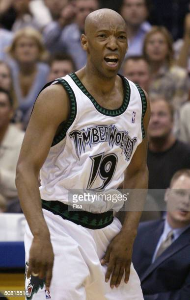 Sam Cassell of the Minnesota Timberwolves reacts to a call against him in the first half against the Sacramento Kings in game two of the NBA Western...