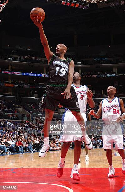 Sam Cassell of the Minnesota Timberwolves shoots a layup during the game against the Los Angeles Clippers at Staples Center on March 27 2004 in Los...