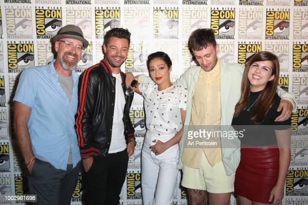 Sam Catlin Dominic Cooper Ruth Negga Joe Gilgun and Terri Schwartz attend the 'Preacher' autograph signing and panel with AMC during ComicCon...