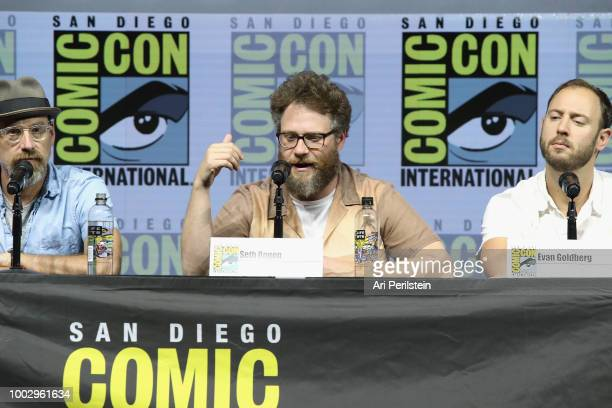 Sam Catlin Seth Rogen and Evan Goldberg attend the 'Preacher' autograph signing and panel with AMC during ComicCon International 2018 at San Diego...