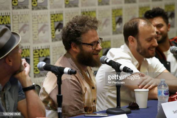 Sam Catlin Seth Rogen Evan Goldberg Dominic Cooper attend the 'Preacher' autograph signing and panel with AMC during ComicCon International 2018 at...