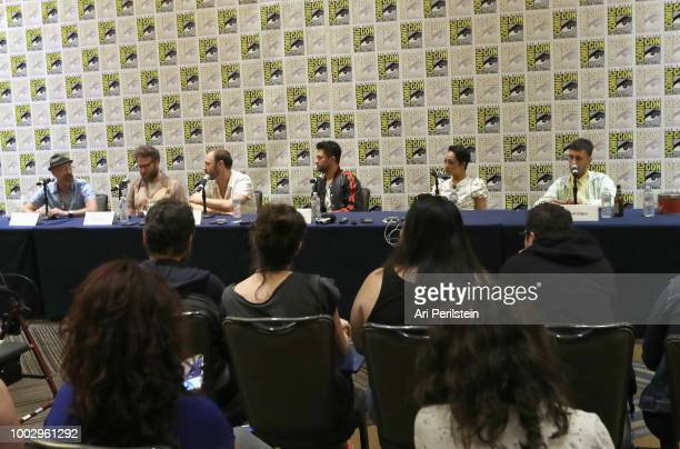 Sam Catlin Seth Rogen Evan Goldberg Dominic Cooper Ruth Negga and Joseph Gilgun attend the 'Preacher' autograph signing and panel with AMC during...