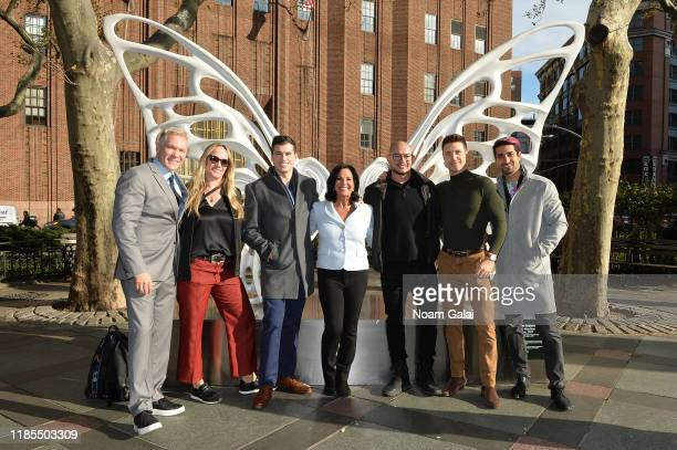 Sam Champion Amber Laign Gio Benitez Emily Kaufman Rubem Robierb Tommy DiDario and Marco Santini attend as Rubem Robierb unveils a new sculpture...