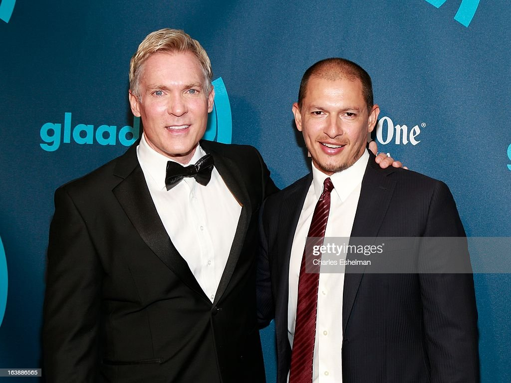 Sam Champion and spouse Rubem Robierb attend the 24th annual GLAAD Media awards at The New York Marriott Marquis on March 16, 2013 in New York City.