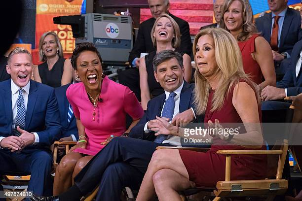 "Sam Champion, Robin Roberts, Amy Robach, George Stephanopoulos, Kathie Lee Gifford, and Lara Spencer attend ""Good Morning America's"" 40th Anniversary..."