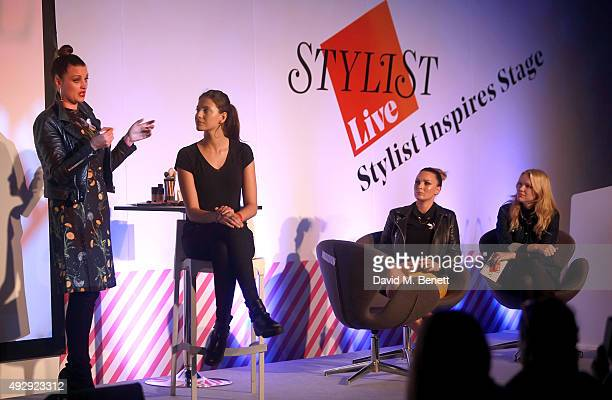 Sam Chapman and Nic Chapman from Pixiwoo on stage during day two of Stylist Magazine's first ever 'Stylist Live' event at the Business Design Centre...