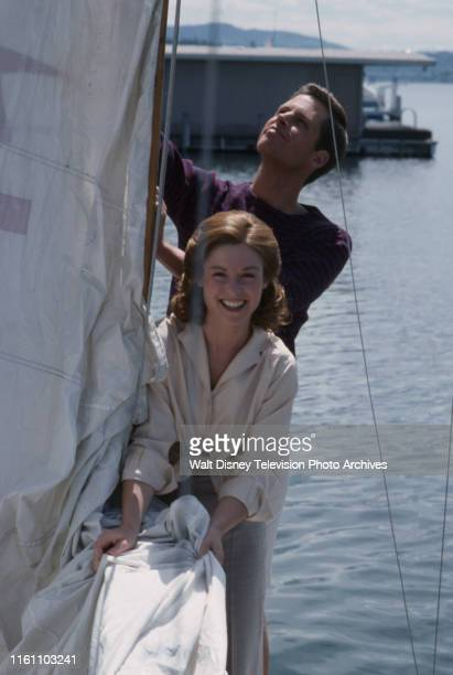 Sam Chew Jr as Jack Kennedy Darleen Carr as Kathleen Kennedy appearing in the ABC tv movie 'Young Joe The Forgotten Kennedy'
