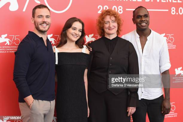 Sam Claflin Aisling Franciosi Jennifer Kent and Baykali Ganambarr attend 'The Nightingale' photocall during the 75th Venice Film Festival at Sala...