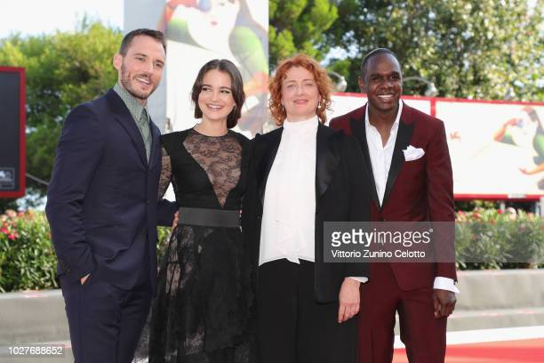 Sam Claflin Aisling Franciosi Jennifer Kent and Baykali Ganambarr walk the red carpet ahead of the 'The Nightingale' screening during the 75th Venice...