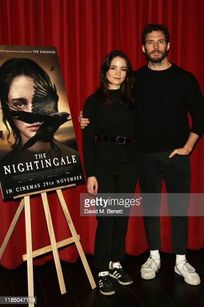 Sam Claflin and Aisling Franciosi attend a QA screening of The Nightingale at the Curzon Soho on November 27 2019 in London England