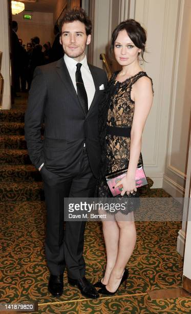 Sam Claflin and Laura Haddock arrive at the Jameson Empire Awards at Grosvenor House on March 25, 2012 in London, England.