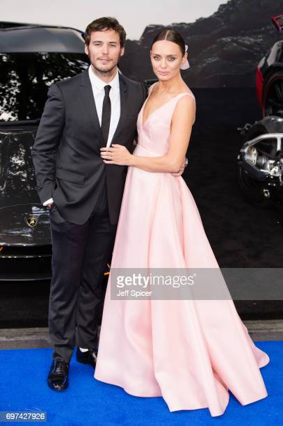 """Sam Claflin and Laura Haddock attend the global premiere of """"Transformers: The Last Knight"""" at Cineworld Leicester Square on June 18, 2017 in London,..."""