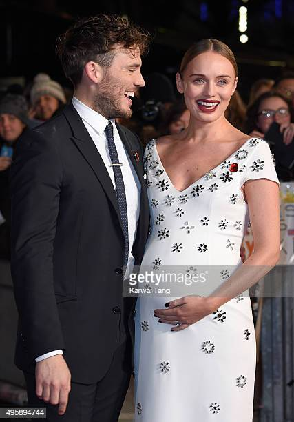 Sam Claflin and Laura Haddock attend The Hunger Games: Mockingjay Part 2 - UK Premiere at Odeon Leicester Square on November 5, 2015 in London,...