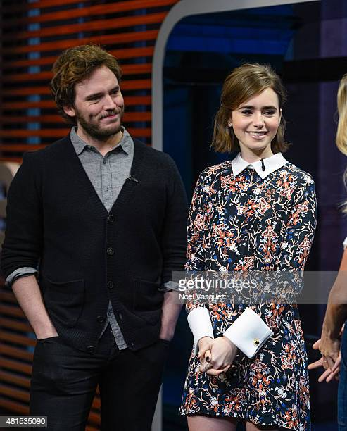 Sam Claflin and Lily Collins visit Extra at Universal Studios Hollywood on January 14 2015 in Universal City California
